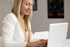Attractive woman working with computer
