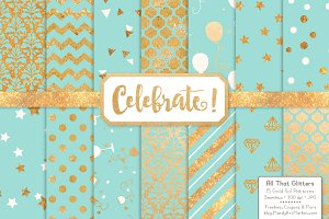 Aqua Gold Foil Digital Papers
