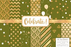 Gold Foil Digital Papers in Avocado