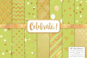Gold Foil Digital Papers in Bamboo