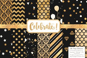 Gold Foil Digital Papers in Black