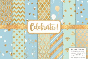 Blue & Mint Gold Foil Digital Papers