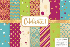 Gold Foil Digital Papers in Bohemian