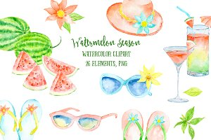 Watercolor Clipart Watermelon Season