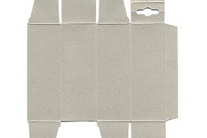 Cardboard box unfolded isolated over white