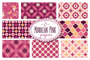 Moroccan Pink Patterns - Vector