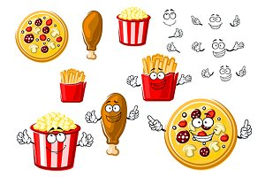 Pizza, chicken french fries pop corn