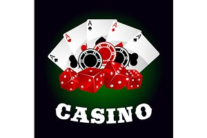 Red dices, chips and poker aces