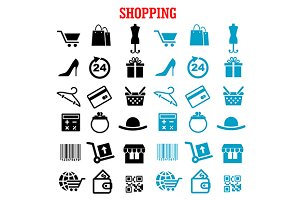 Shopping and commerce flat icons set