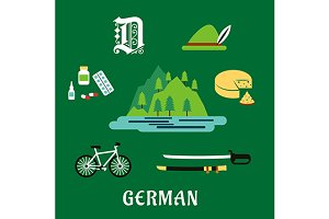 German travel flat icons
