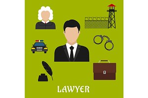 Lawyer profession flat icons