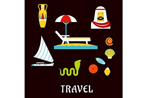 Egypt travel and vacation icons