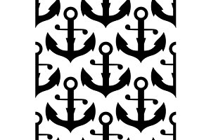 Seamless pattern of sea ship anchors