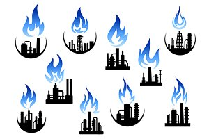 Petroleum refinery factory icons