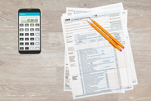 US Tax form 1040 on desktop