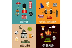 Great Britain travel icons