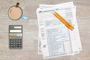 USA tax form for 2015 on desk