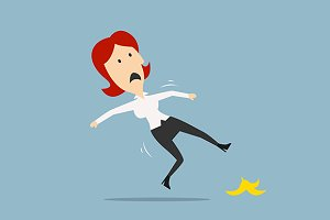 Businesswoman slipped on banana peel