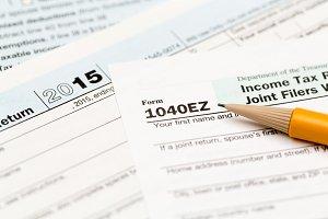 Close up of USA tax form 1040EZ