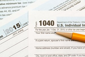 Close up of USA tax form 1040