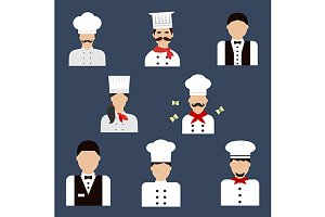 Food service profession icons