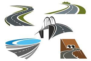 Road bridge and winding highways