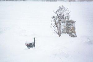 Deep snow blizzard