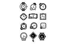 Icons of wall and table clocks