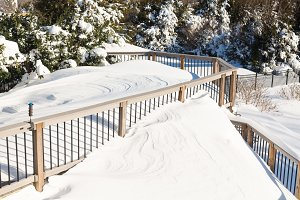 Snow blizzard piles up on deck