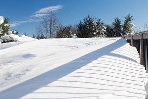 Blizzard snow drift on deck