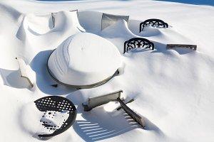 Deep snow on patio furniture