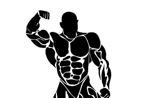 bodybuilding, icon, vector