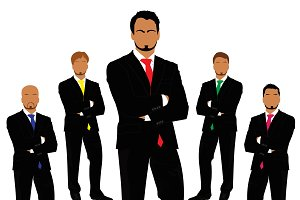 business people, team work, vector