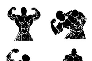 bodybuilding, fitness, vector
