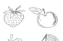 fruits in sketch style, vector