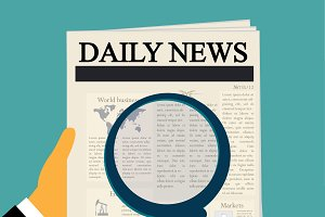 daily news, magnifying glass