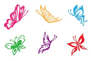butterfly, vector, set