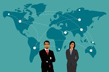 global business concept, vector