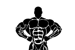 bodybuilding concept, vector