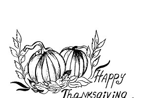 Thanksgiving, sketch, vector