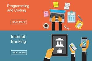 programming, banking, vector