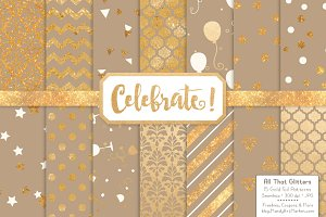 Champagne Gold Foil Digital Papers