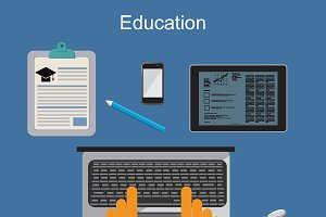 Education, online training, vector