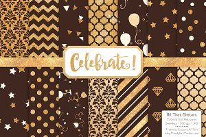 Chocolate Gold Foil Digital Papers