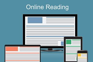 online reading concept, vector
