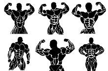 set of bodybuilding icons