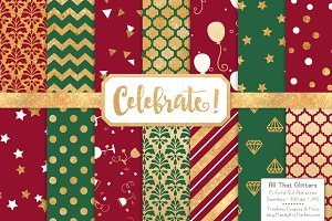 Christmas Gold Foil Digital Papers