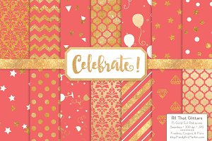 Gold Foil Digital Papers in Coral