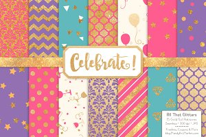 Crayon Box Gold Foil Digital Papers