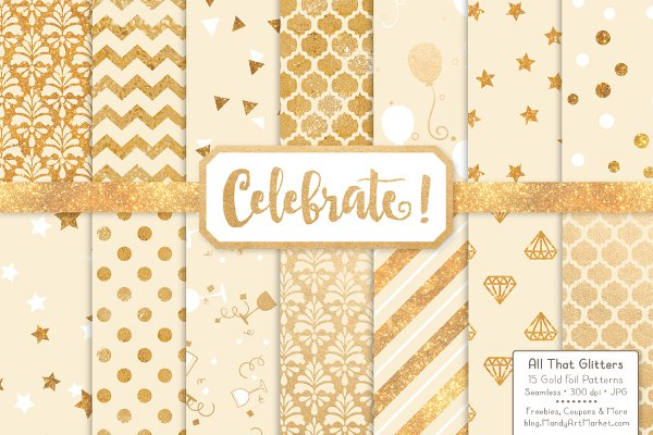 Gold Foil Digital Papers in Cream